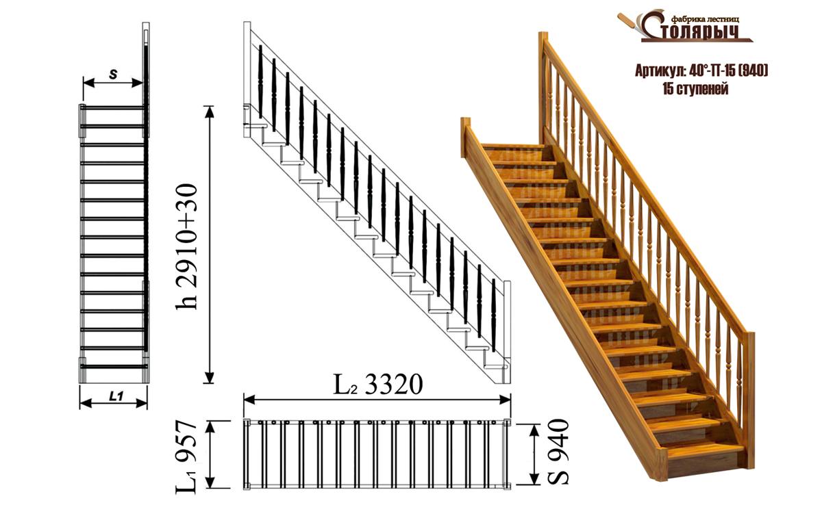Фото и схемы лестниц на второй этаж